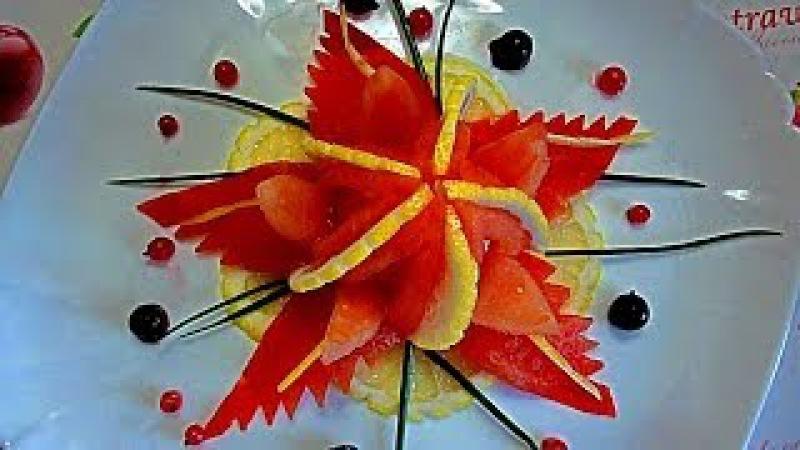 Цветок из помидора! Морская звезда! Карвинг помидора! Starfish! Carving tomato.