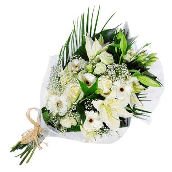 Подарок, букет с лилией 1 шт робелини и гипсофилой