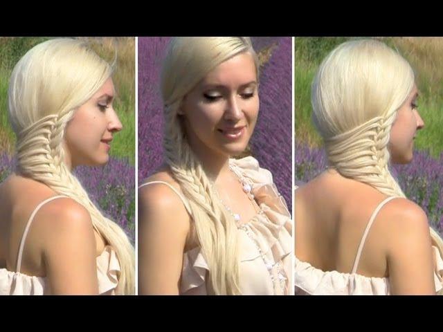Праздничнаявечерняясвадебная причёска с плетением на длинные волосы коса своими руками