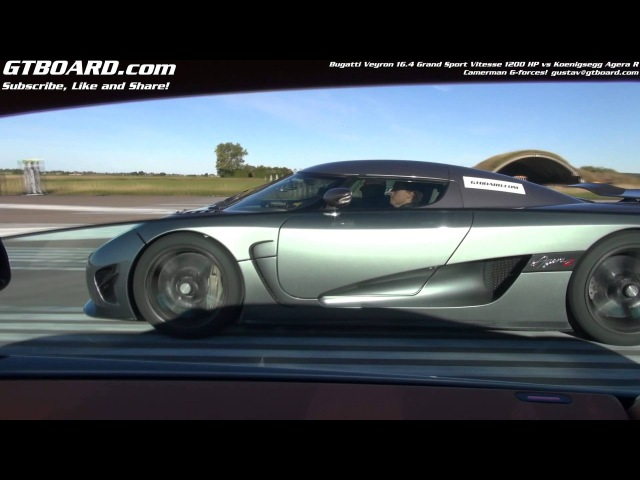 G-forces of 1200 HP Bugatti Veyron Vitesse and Koenigsegg Agera R on the cameraman from 50 km/h