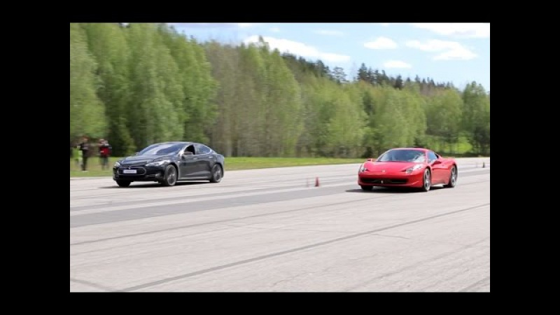 700 HP Tesla Model S P85D vs Ferrari 458 Italia GTBOARD.com May 2015 Event