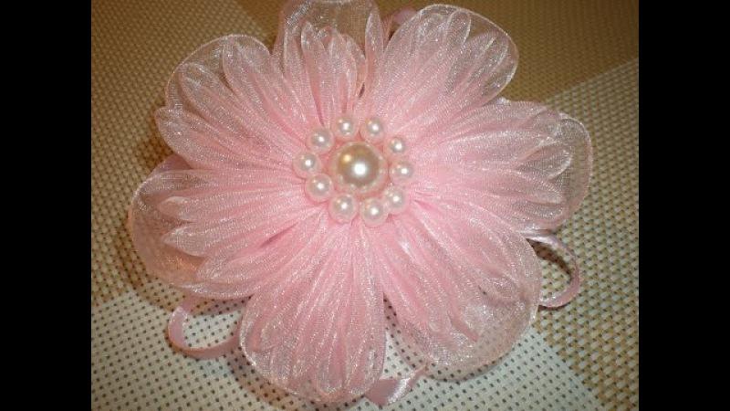 Нежный цветок-резинка для волос из органзы своими руками. DIY Flowers