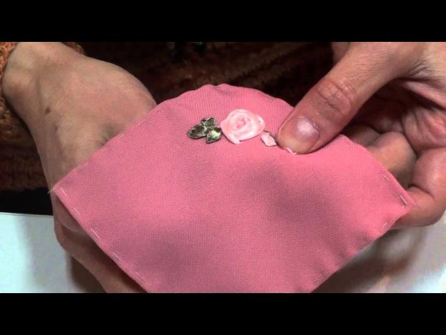 Вышивка лентами. МК от Людмилы Махнёвой. Роза бутон
