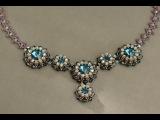 Sidonia's handmade jewelry - Blue Roses Necklace - Swarovski Necklace Part 1