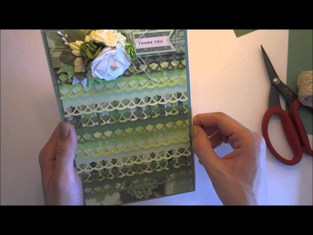 Открытка из обрезков при помощи бордюрного дырокола - Скрапбукинг мастер-класс / Aida Handmade
