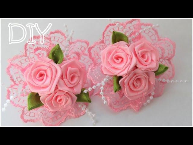 🌺 Резинки с Розами Своими Руками Розы из Атласных Лент Roses of Satin Ribbons