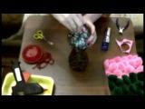 Топиарий  Шар из цветных салфеток  на бутылке  Мастер класс !!!