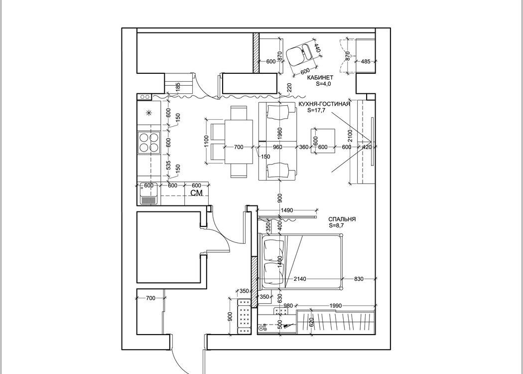 Проект квартиры-студии порядка 36-38 м.
