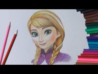 Уроки рисования. Как нарисовать АННУ из Холодное сердце how to draw Anna from Frozen