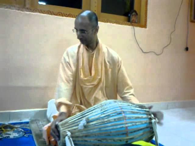 Srila bhakti nandan swami maharaj-playing mrdanga video clip