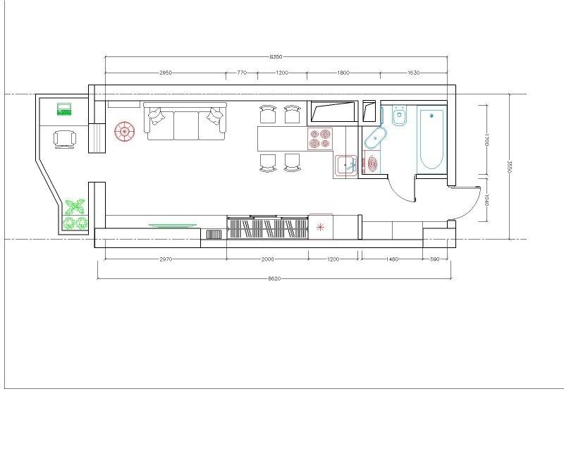 Проект студии 29,7 м для девушки.