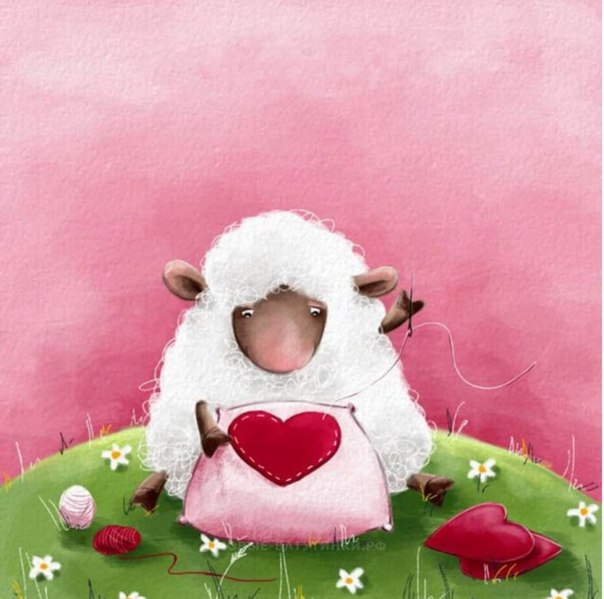 Открытка овцы, летний день анимация