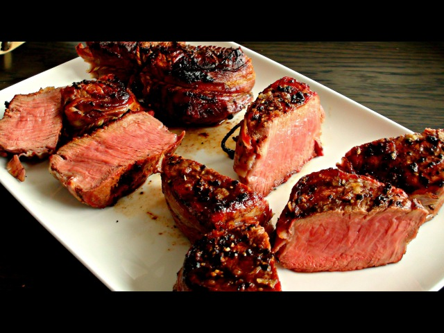 Filet Mignon Grilled on the Big Green Egg mini - beef tenderloin - barbecue recipe - how to