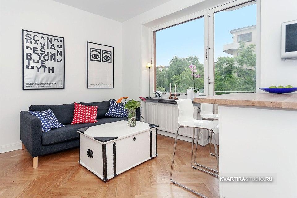 Квартира 25 м со столом-сундуком и высокой кроватью в Стокгольме / Швеция - http://kvartirastudio.
