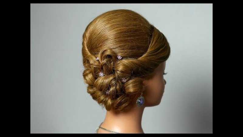 Wedding prom hairstyle for long medium hair. Romantic updo