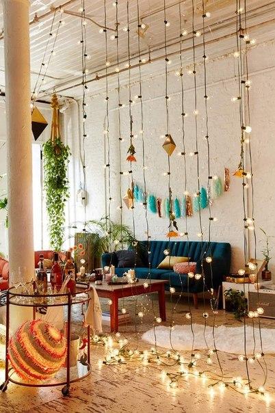 Living room string lights