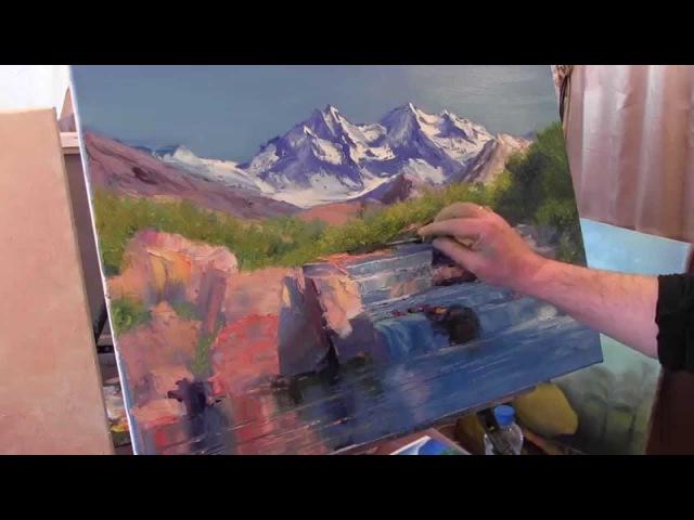 Научиться писать горы маслом, уроки риунка, курсы по живописи в Москве, художник Сахаров