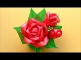 Как сделать Красивые Розы из лент / Kanzashi Satin Ribbon Rose Tutorial / ✿ NataliDoma