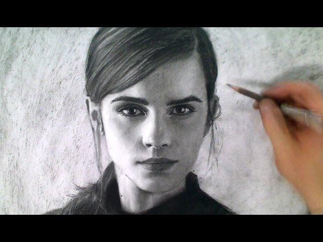Drawing Emma Watson Portrait Art Video - Beauty and the Beast Art Drawing Video