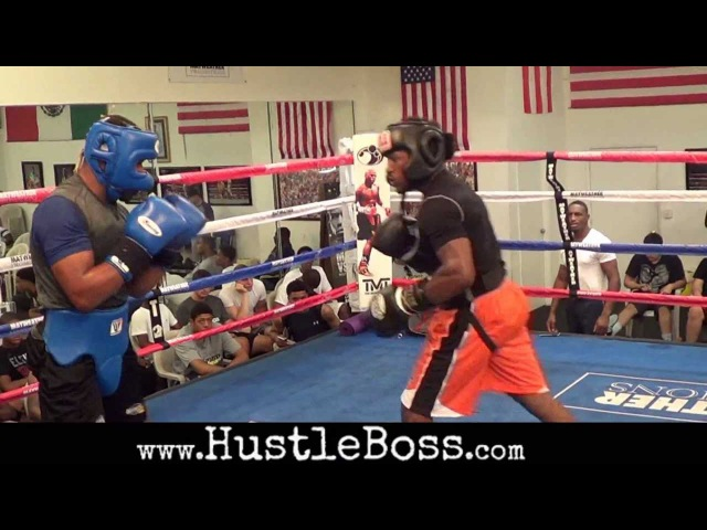 Lydell Rhodes (17-0, 9 KOs) steps in to spar with Shawn Porter at the Mayweather Boxing Club