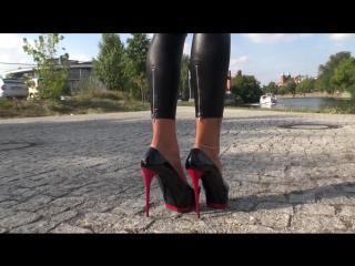 Tamia in high heels and wet look leggins sexy walking