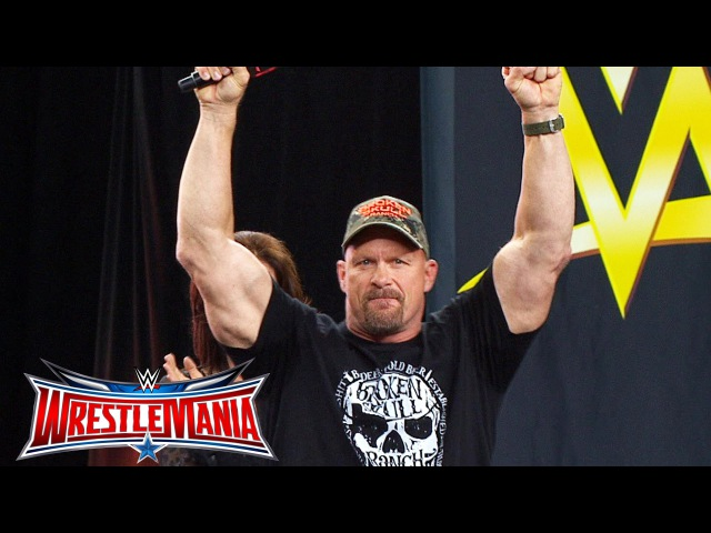 """Stone Cold"" Steve Austin enters ATT Stadium: WrestleMania On-Sale Party, November 5, 2015"