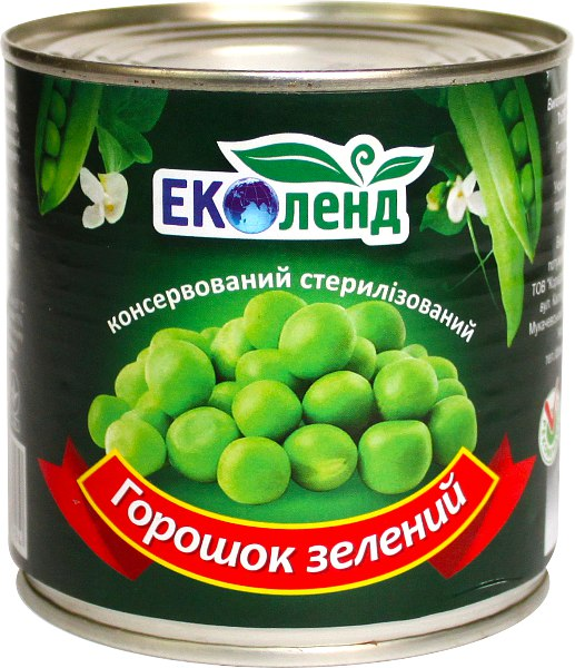 Горошок зелений консервований, Еколенд, 420г