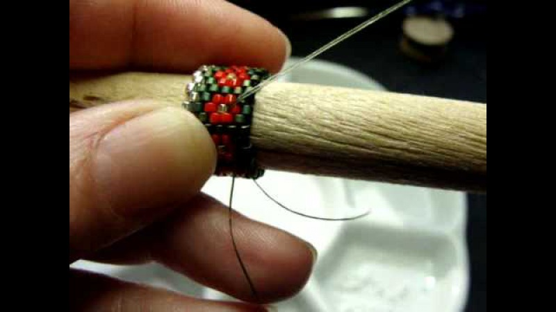 How To Bead Tubular Peyote Stitch Needle Case Snowman Pattern by Beth Murr