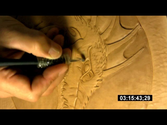 Leathercraft - how to carve, stamp and tool a dragon on a veg tanned leather