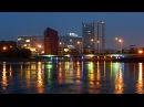 Ночной Город. Красивое Отражение Ночного Города В Воде. Футажи для видеомонтажа