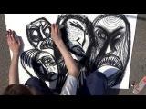 artist Aleksandr Alyonin film part1 (street art, art brut, expressio, expressive abstract, chalk)
