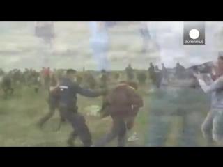 Венгрия_ журналистка подставила подножку нелегалу