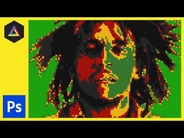 Lego Portrait   Bob Marley   Adobe Photoshop Tutorial\\ло