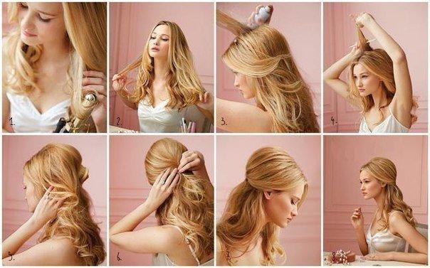 причёски с распущенными волосами фото поэтапно