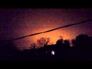 Зарево над Донецком после обстрела 23.10.2014