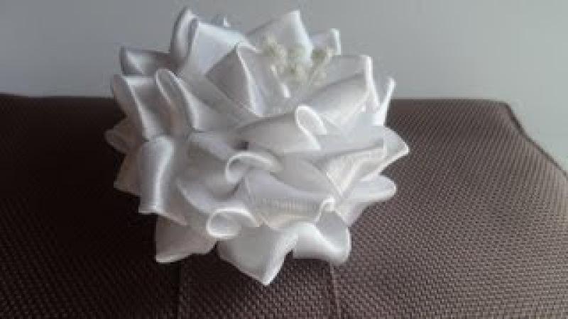 Мастер класс Цумами Канзаши Свадебный цветок цветы из лент tsumami kanzashi