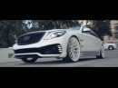 Amani Forged Wheels Mercedes S550 with Wald Black Bison Body Kit on 24 Mondo Mesh
