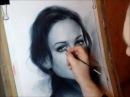 Рисование портрета в технике сухая кисть