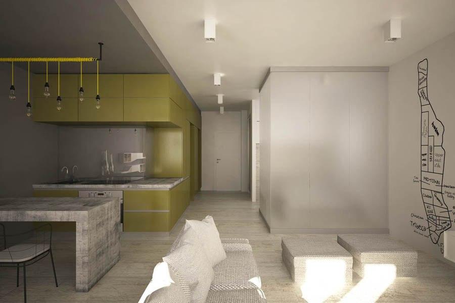Концепт квартиры 44 м для молодого мужчины.