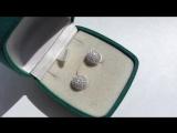 срібні сережки з цирконами діаметром 1 см