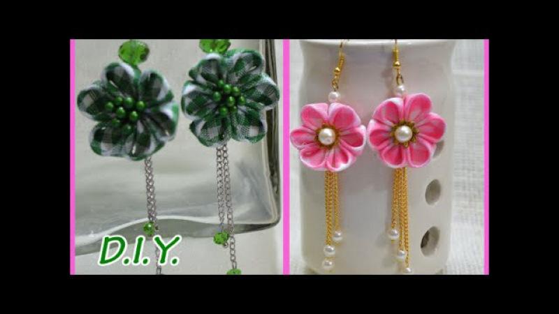 ❃ ❁ ❀ D.I.Y. Kanzashi Flower Earings   MyInDulzens ❀ ❁ ❃
