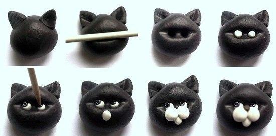 Мордочка котика из полимерной глины или пластилина