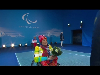 Церемония награждения женщин биатлон 12,5км сидя Паралимпиада 2014 Сочи