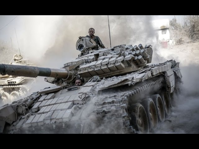 Syria War - Syrian Tanks in Heavy Fighting with Rebels GoPro 1080p