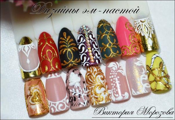 Дизайн гель пастой на ногтях