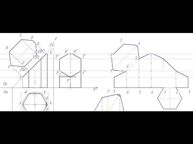 Видеоуроки Компас 3D. Урок 6 Сечение призмы плоскостью Развертка усеченной призмы