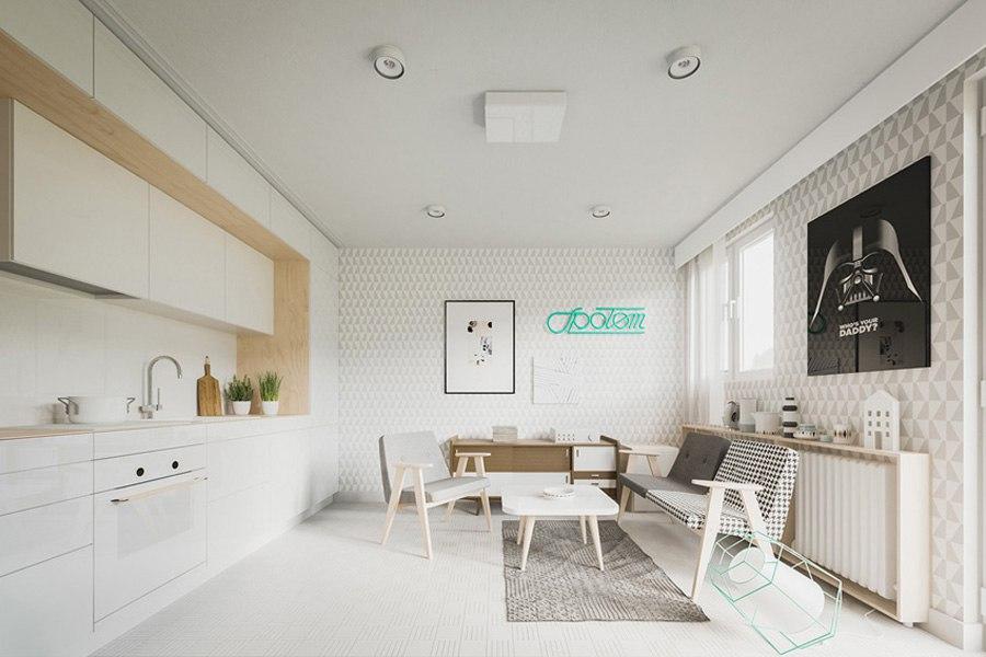 Концепт маленькой квартиры-студии всего 20 м с откидной кроватью.