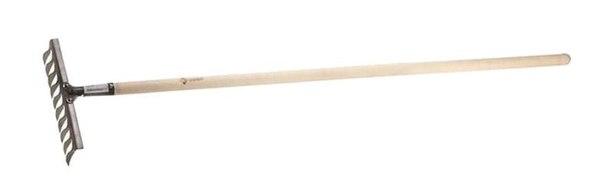 Грабли из нержавеющей стали, деревянный черенок   ЗУБР