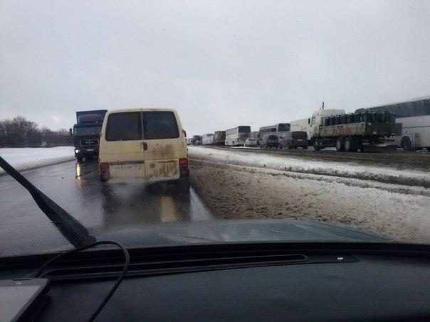 состояние трассы  М4 Дон в Ростовской области 28.12.2014 снег снегопад метель плохая видимость