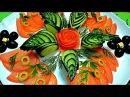 Украшения из овощей Украшения из огурца Как красиво нарезать огурец Decoration of vege